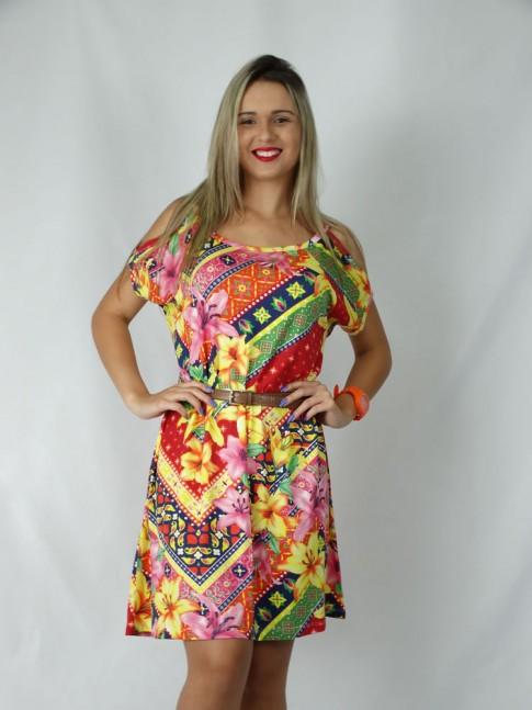 308 - Vestido em Visco Lycra com Recorte no Ombro e Argola Estampa Flores Color