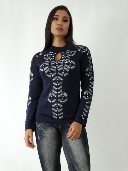 Blusa em Tricot com Detalhes Vazados Azul Marinho Forro Branco [1904135]
