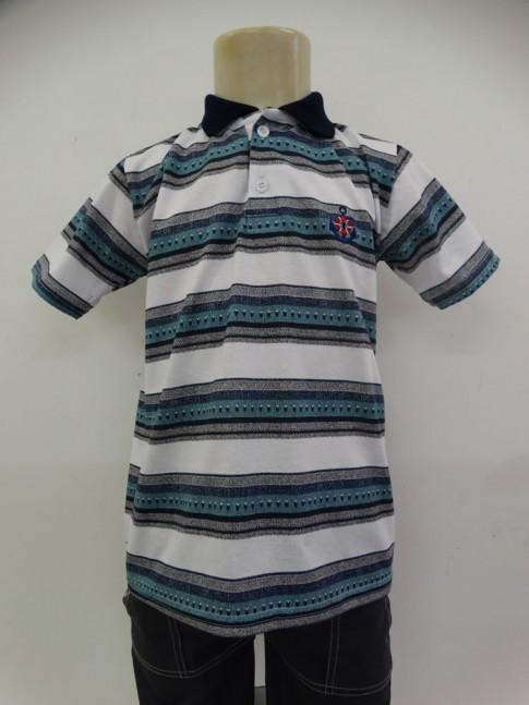 Camisa Polo Infantil em Malha Listras Branco com Cinza [1905020]