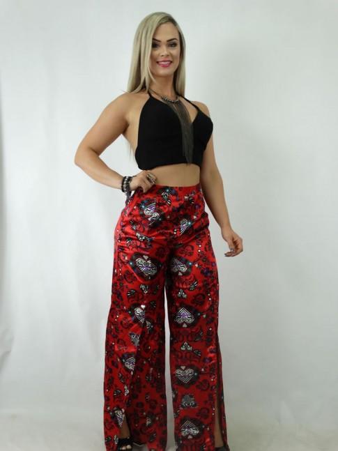 Calça Pantalona com Fendas em Cetim Vermelho Estampado [1901225]
