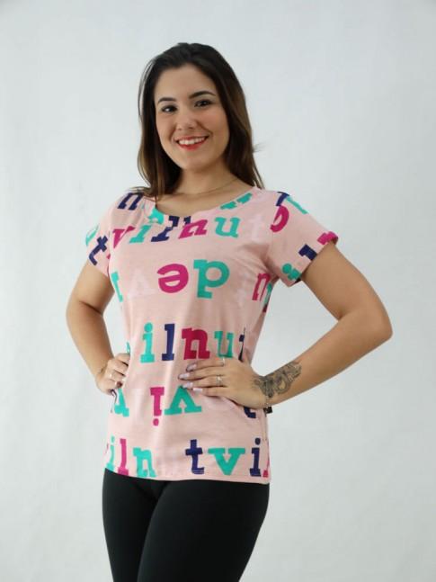 T-Shirt Estampada em Viscolycra Letras Colors Rosa [2008067]