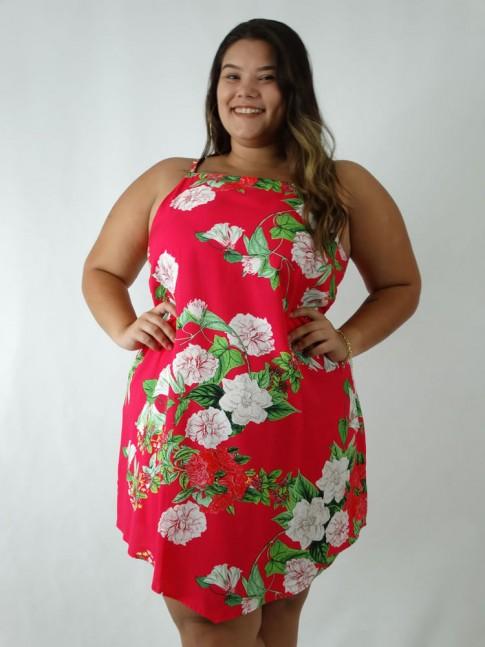 Vestido em Viscose Assimétrico Plus Size Rosa Flores [1903056]