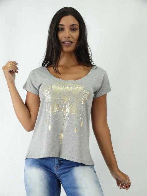 T-shirt em Viscolycra Mullet Estampa Flor Indiana