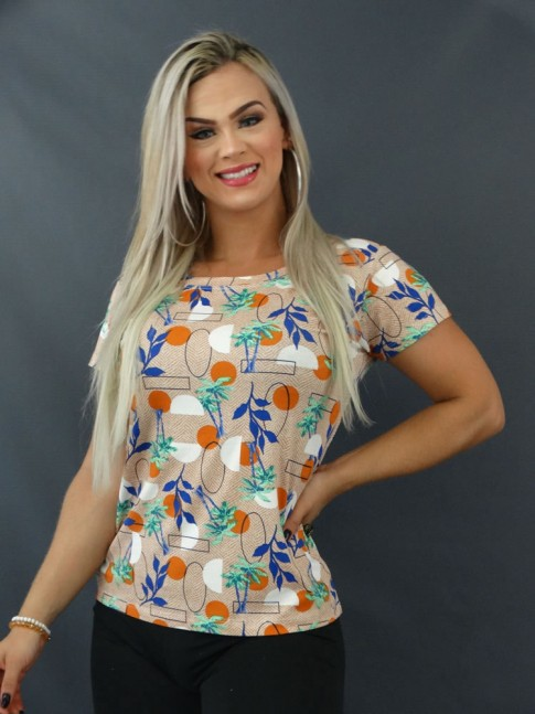Blusa T-shirt Estampada em Viscolycra Bege Geométrico Folhas [2103134]