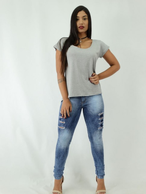 Calca Jeans Hot Pants Lavagem com Destroyed