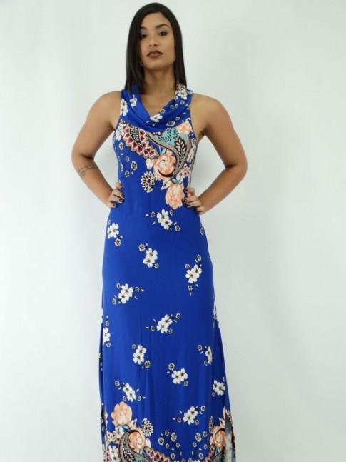 Vestido Longo em Viscolycra com Gola Role Azul Floral