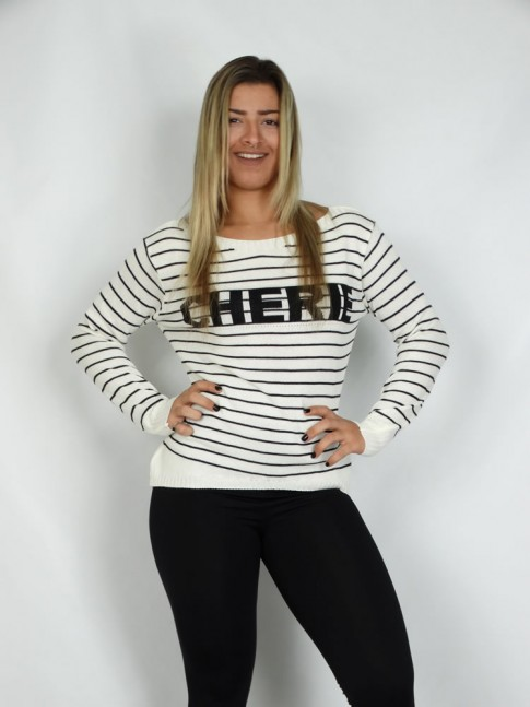 200-Blusa em tricot listrada estampa cherrie