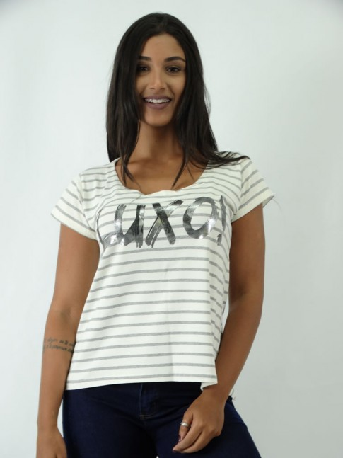 T-shirt em Viscolycra Mullet Listras e Luxo