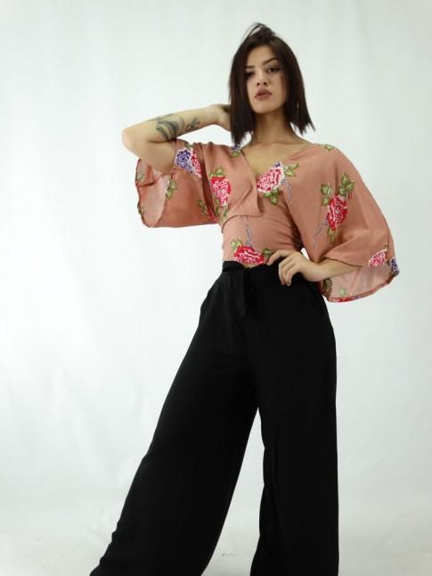Calca Pantalona em Viscose  Elastico no cos e amarracao Lisa