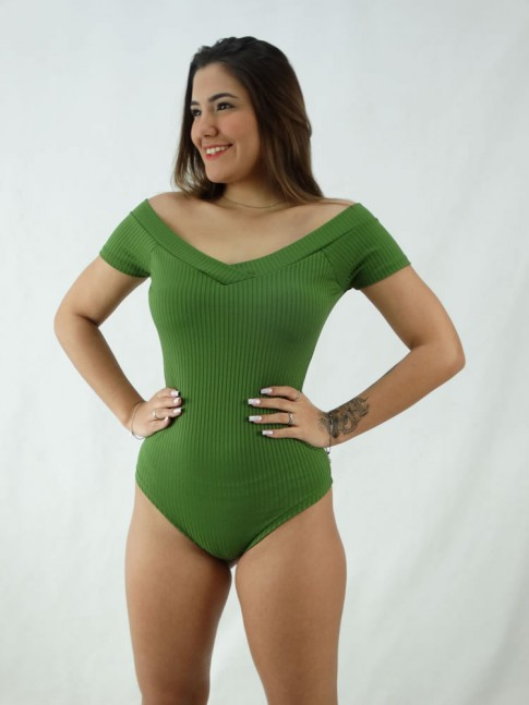 """Body Ombro a Ombro Decote """"V"""" com Bojo Canelado Verde [2008025]"""