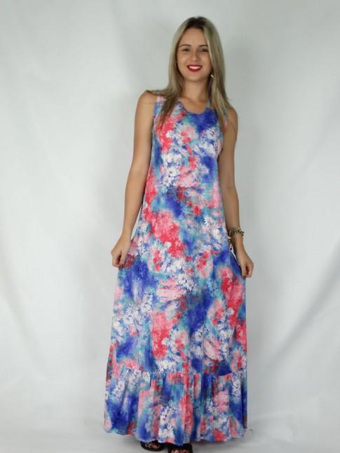 Vestido de viscose longo com alça cruzada estampa croco floral azul