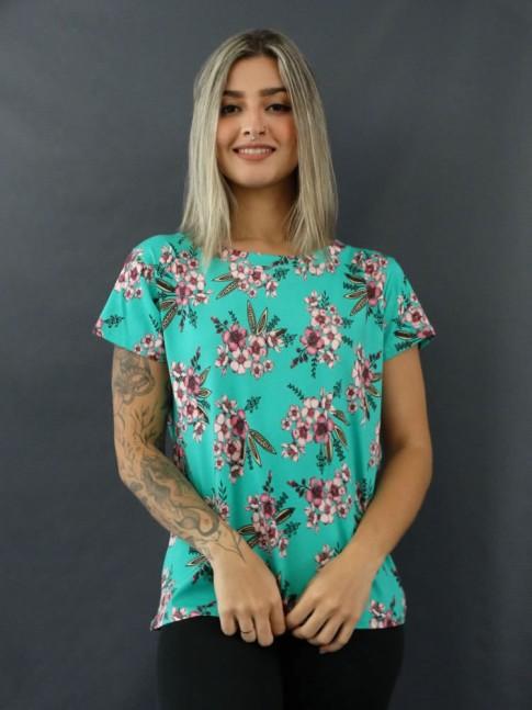 T-shirt Estampada em Viscolycra Verde água Flores Lilás [2012048]
