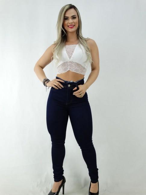 Calça Jeans Escuro Cós Desfiado com Stretch [2003040]