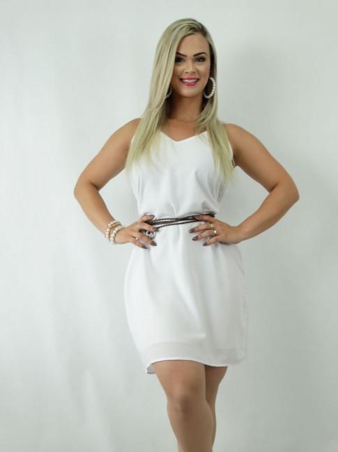 Vestido em Viscose Decote V Branco [1812255]