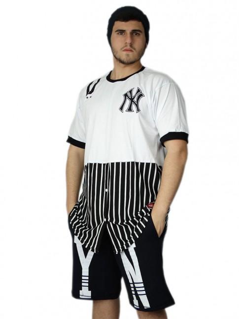 312 - Camisa Swag Longa Hip Hop com Botões
