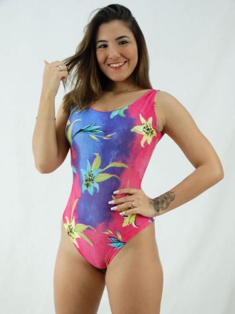 Body Regatão Decote Costas com bojo Suplex Estampado Rosa Pink Flores [2008047]
