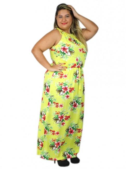 Vestido de viscose longo com fenda lateral estampa floral amarela