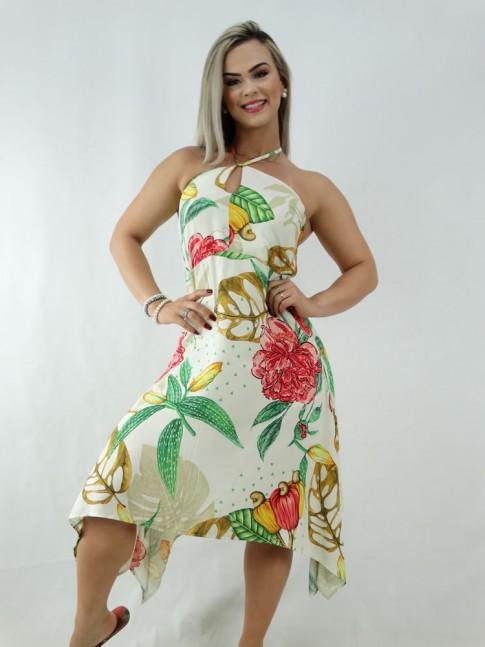 Vestido Assimetrico em Viscose Off White Flores Frutas [2001029]