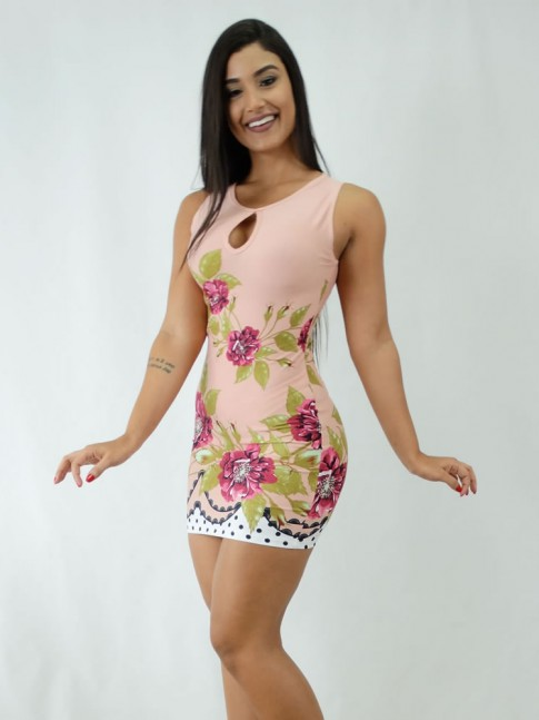 Vestido em Suplex Decote Gota Rose Flores Poa [1812054]