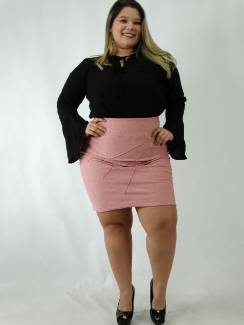 Saia Plus Size em Jacquard Nervura com Strass Rosa