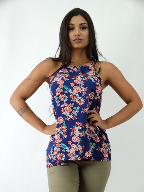 Blusa em Viscose com Regulado e amarracao Azul Marinho Flores Rosas