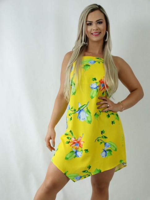 Vestido em Viscose Assimétrico Amarelo Flores [1903050]
