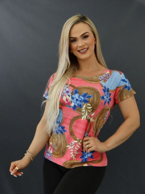 T-shirt Estampada em Viscolycra  Rosa Flores Azuis [2011070]