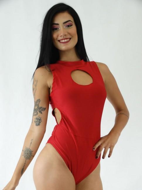 Body em Suplex Decote Redondo com Abertura na Cintura Vermelho [1911101]