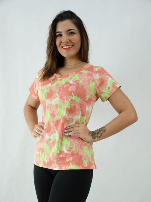 T-Shirt Tie Dye Viscolycra Vermelho e Verde Neon [2008073]