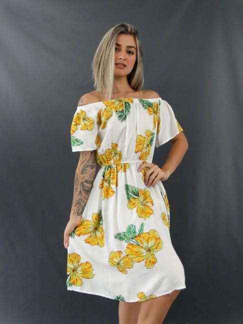 Vestido Ciganinha com Bolso em Viscose Branco Flores [2012130]