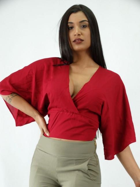 Blusa Cropped em Viscose Manga Flare Amarracao Vermelho