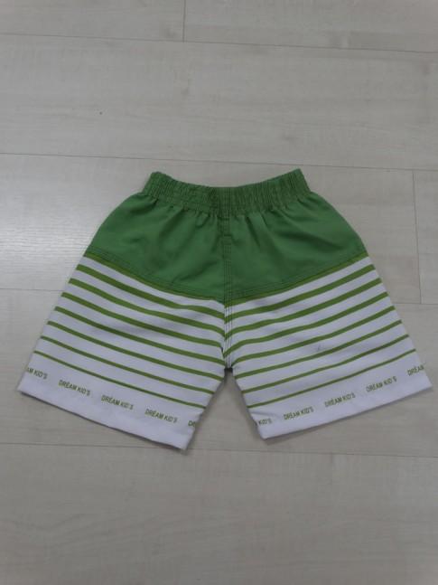 Short Infantil em Microfibra Verde Listras Brancas [1812106]