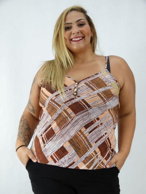 Blusa de Alça com Botões em Viscose Plus Size Ferrugem Etnico [2008196]