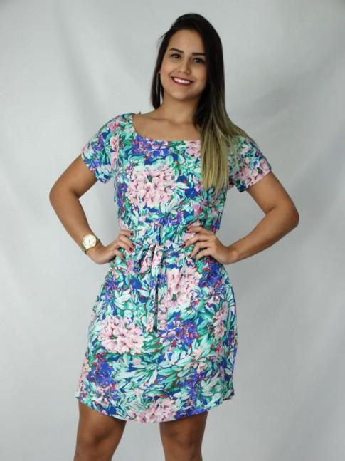 Vestido de viscose com faixa estampa floral azul
