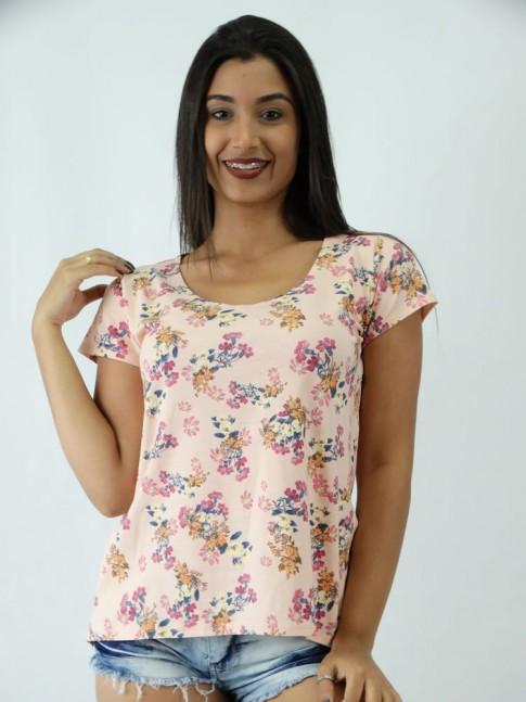 T-shirt em Viscolycra estilo Mullet Rosa Claro Florzinhas