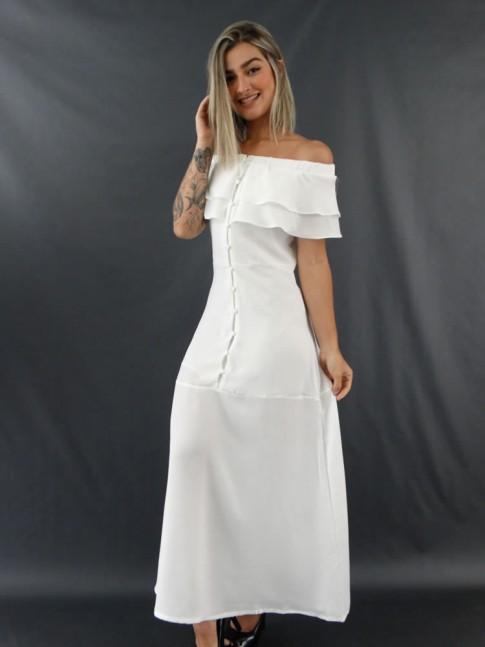 Vestido Longo Ciganinha com Botões em Crepe Branco [2012076]