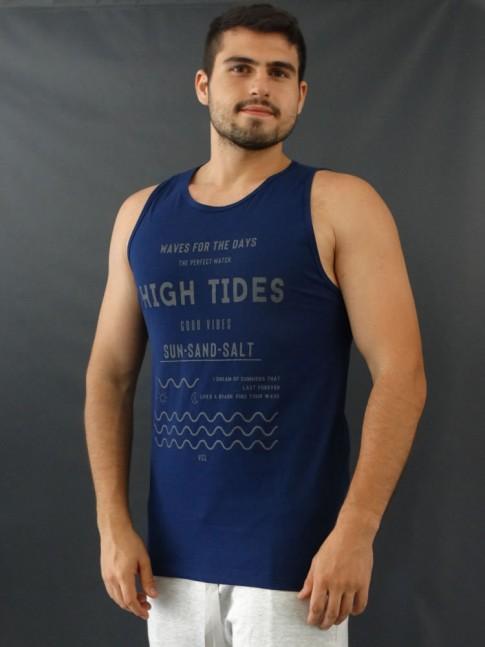 Camiseta Masculina Regata Estampada Ondas Azul Marinho [2010029]