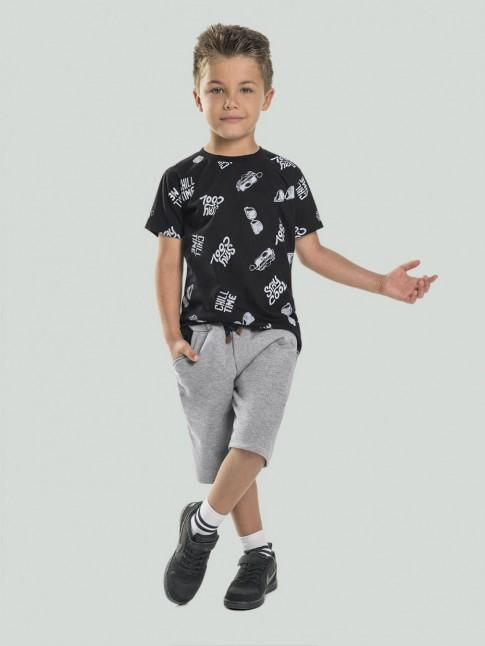 Conjunto Infantil Masculino T-Shirt Stay Cool + Short Bicolor Preto e Cinza [2008214]