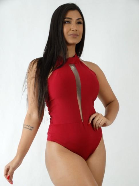 Body em Suplex Frente Unica Decote Profundo com Tule Vermelho [1908013]