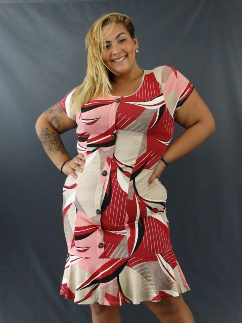 Vestido Plus Size em Viscolycra Frente com Botões Geométrico Rosa e Vinho [2011137]