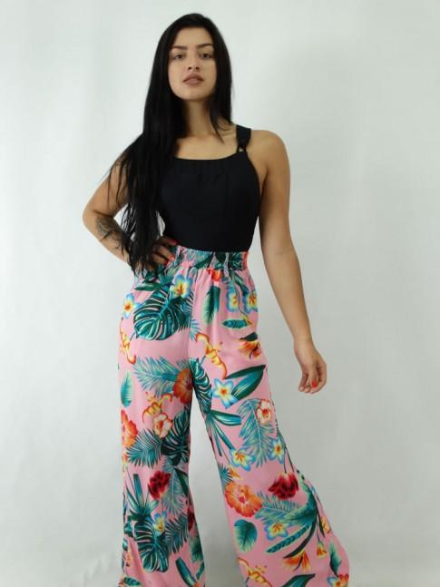 Calça Pantalona em Viscose com elastico no cos Rosa Floral