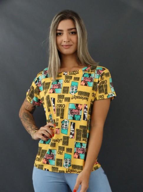 Blusa T-shirt Estampada em Viscolycra Mostarda Quadrinhos [2103128]