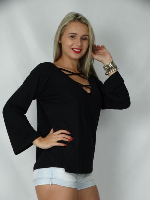 308 - Blusa de manga comprida com X no decote lisa