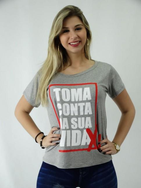 T-shirt em Viscolycra Estilo Mullet Toma Conta da sua Vida [1809116]