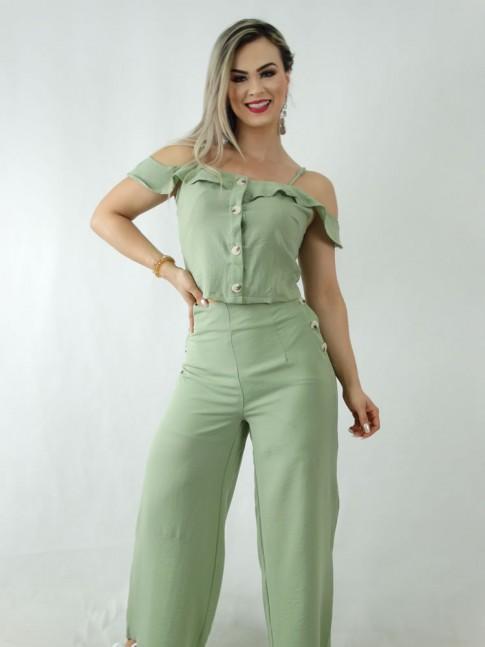 Conjunto em Crepe Calça Pantalona e Blusa Cropped com Botões Verde [1909326]