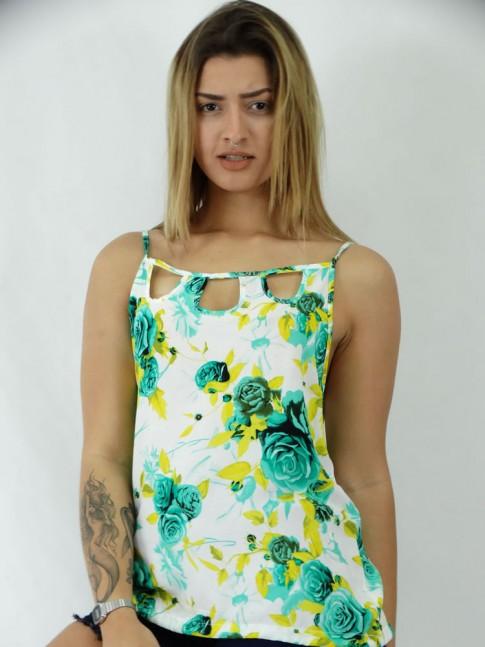 Blusa Gotas no decote em Viscose Estampa Flores Brasileiras