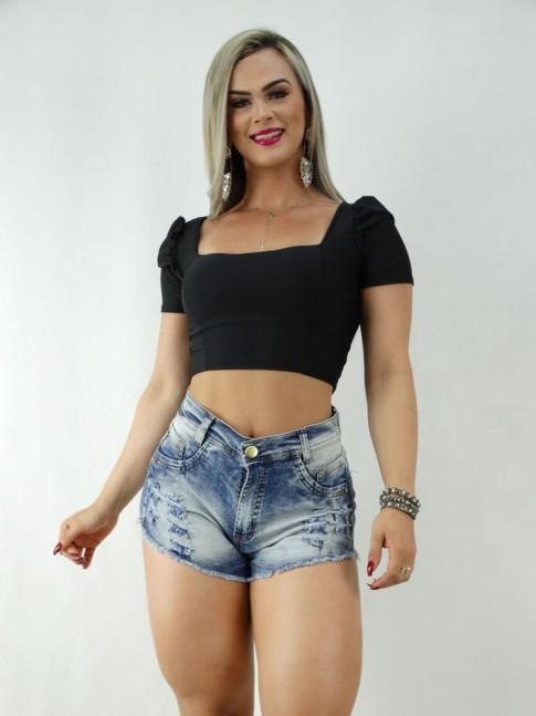 Short Jeans Dark com Estonado [170619]