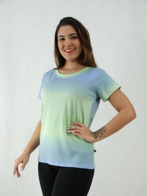 T-Shirt Tie Dye Viscolycra Verde Claro e Azul [2008072]