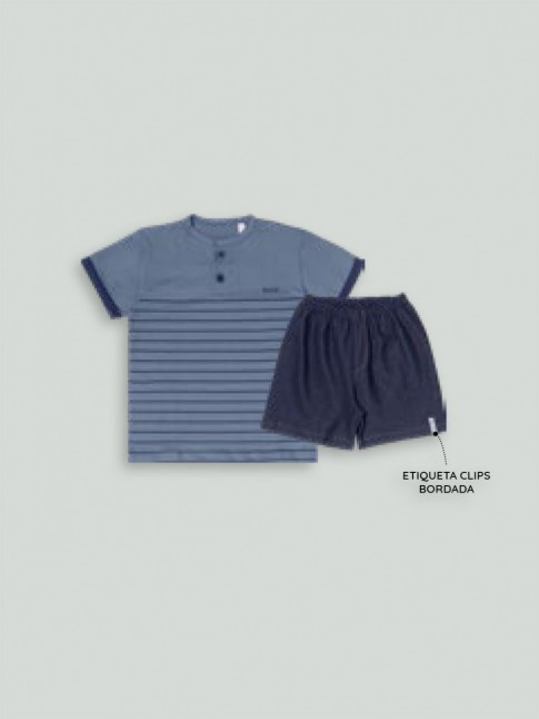 Conjunto Infantil Masculino T-Shirt Com Botões + Short com Elástico Azul [2008210]