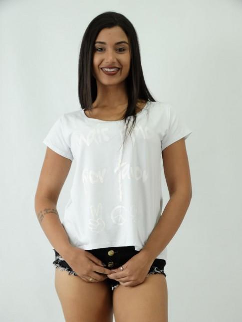 T-shirt em Viscolycra estilo Mullet Estampa Mais Amor Por Favor
